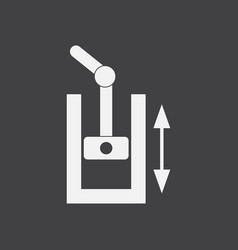 White icon on black background pressure in engine vector