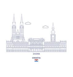 Zagreb city skyline vector