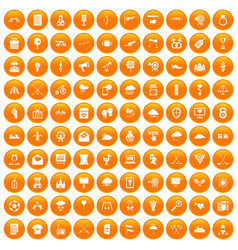 100 arrow icons set orange vector