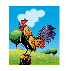 Rooster cockerel cock crowing retro vector