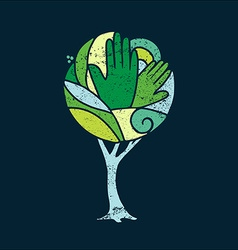 Green concept tree of people hands for nature help vector image