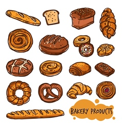 Bakery products bread color set vector