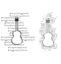 Guitar with music notes - design elements vector