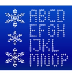 Winter white english alphabet with snowflakes vector