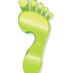 Glossy foot print icon vector