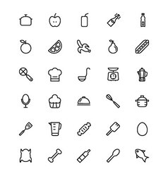 Food and drinks line icons 9 vector
