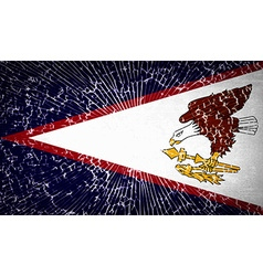 Flags american samoa with broken glass texture vector