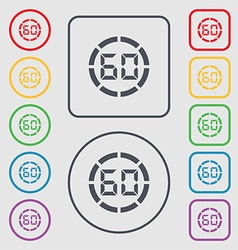 60 second stopwatch icon sign symbols on the round vector