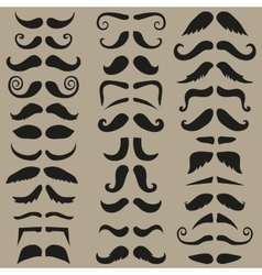 Set of hipster mustache black silhouette vector