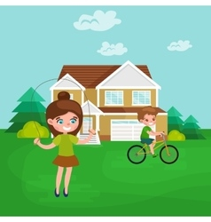Little girl playing skipping rope outdoor vector