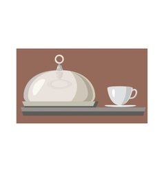 Cloche for meal and cup of hot drink icon vector