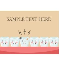 Aching tooth among healthy teeth vector