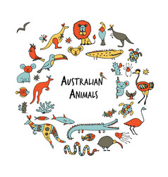 australian animals set sketch for your design vector image