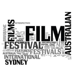 Australian film festivals text word cloud concept vector