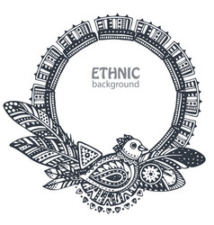 Beautiful frame with hand drawn ethnic elements vector