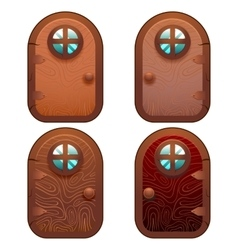 Cartoon wooden and stone fairy door for ui game vector