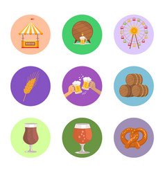 Circled images food and beer vector