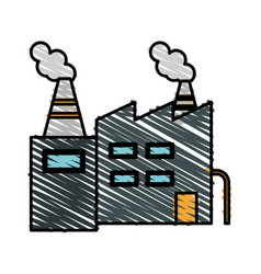 Color crayon stripe cartoon building industrial vector