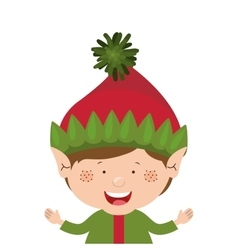 Color image with half body christmas gnome boy vector