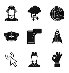 connectivity icons set simple style vector image vector image