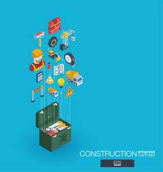 Construction integrated 3d web icons growth and vector