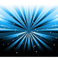 dark background and blue ray with star vector image vector image