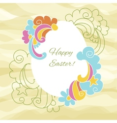 Easter card egg with wishes for a happy Easter vector image vector image