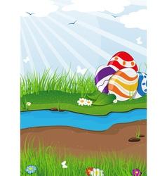 Easter eggs near the creek vector