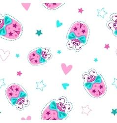 Girlish seamless pattern with cute ladybugs vector