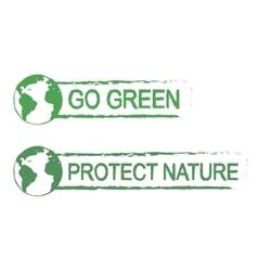 Go green protect nature grunge graffiti print vector image