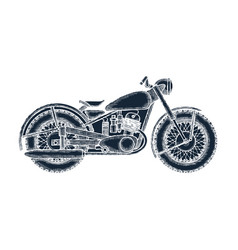 Hand drawn vintage motorcycle logo design template vector