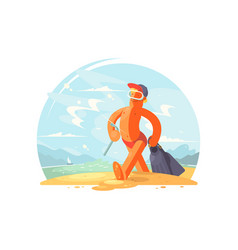 happy man going to swim vector image vector image