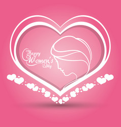 Happy womens day heart girl pink background vector