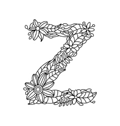 Letter Z coloring book for adults vector image