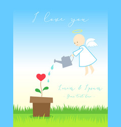 Love card or poster with angel or cupid watering vector