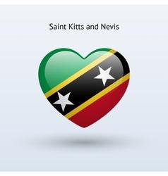 Love saint kitts and nevis symbol heart flag icon vector