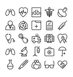 Medical health and hospital line icons 1 vector