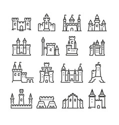 Medieval castle and ancient tower fortress line vector