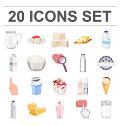 Milk product cartoon icons in set collection for vector