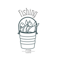 Monochrome sketch silhouette bucket full fish and vector