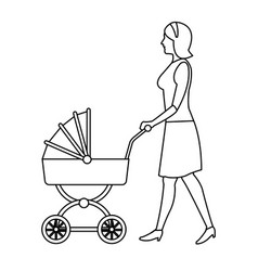 Mother pushing pink baby carriage outline vector