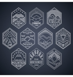 Mountain badges linear 1white vector image vector image