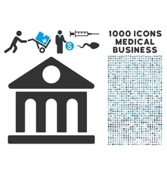 Museum building icon with 1000 medical business vector