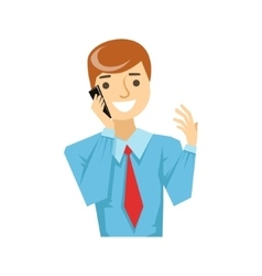 Office worker talking about work on smartphone vector