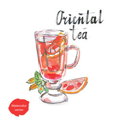 Oriental tea watercolor vector