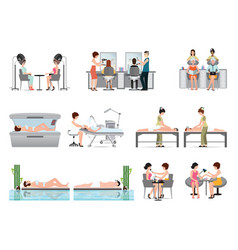 People in spa beauty salon and various beauty vector