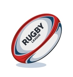 Rugby ball red white and blue design vector