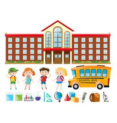 School building and many children vector
