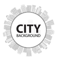 Seamless circular frame of line skyscrapers Black vector image