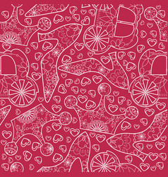 Seamless pattern with princess atributes vector